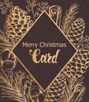 Merry christmas golden card with conifer cone, cinnamon sticks, berries and cotton. Outline sketch style holiday vector - Starpik Stock