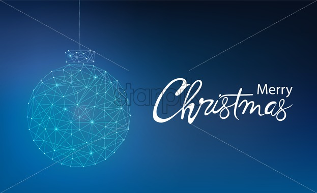 Merry christmas greeting card banner with innovative style bauble. Connected dots. Blue background - Starpik Stock