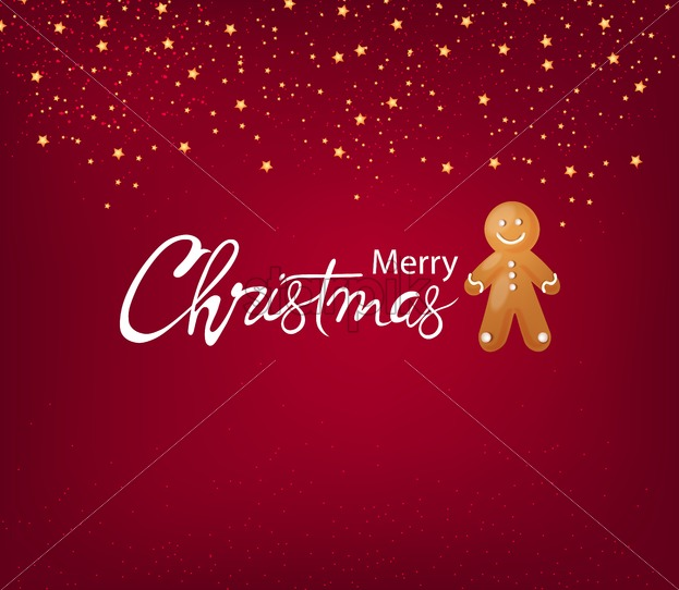 Merry christmas greeting card with gingerbread men cookie, stars and sparkles decorations on red background. Vector - Starpik Stock