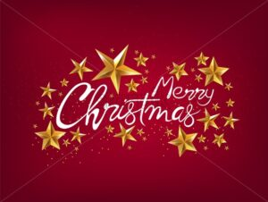 Merry christmas greeting card with gold stars, handwritten text and sparkles. Red background vector - Starpik Stock