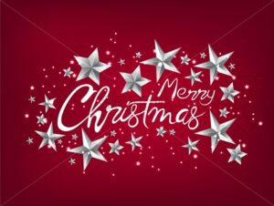 Merry christmas greeting card with silver stars, handwritten text and sparkles. Red background vector - Starpik Stock