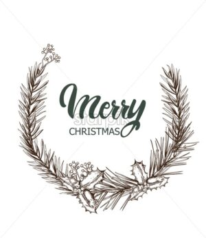 Merry christmas monochrome wreath. Sketch style berries and leaves. Holiday vector - Starpik Stock
