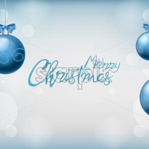 Merry christmas panoramic composition with blue ornamented baubles with ribbon. Snowflakes and bokeh white lights on background. Holiday Vector - Starpik Stock