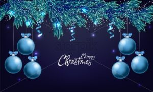 Merry christmas panoramic composition with blue ornamented baubles with ribbon. Snowflakes and white lights on background. Holiday Vector - Starpik Stock