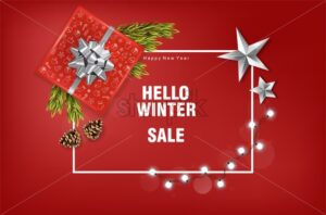 Merry christmas sale banner with silver ribbon gift box, fairy lights, conifer cone fir tree leaves and silver stars. Red background vector - Starpik Stock
