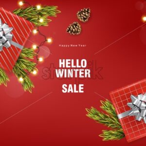 Merry christmas sale banner with silver ribbon gift box, fairy lights, conifer cone, fir tree leaves. Red background vector - Starpik Stock