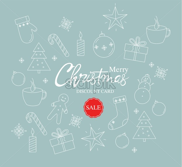 Merry christmas sale discount card with christmas outlined decorations. Gloves, candles, tree, tea, gift boxes and gingerbread cookies. Vector - Starpik Stock