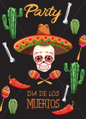 Mexican Day of the Dead party with holiday decorations. Skull with flowers and sombrero hat. Bones, cactus, hot pepper and colorful maracas. Black background. Vector - Starpik Stock