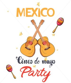 Mexico Cinco de Mayo party invitation card with guitars, colorful maracas and shiny stars. Vector - Starpik Stock