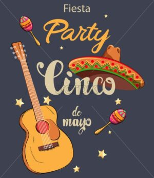 Mexico Cinco de Mayo party invitation card with guitars, colorful maracas, sombrero hat and shiny stars. Vector - Starpik Stock