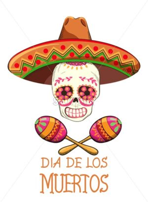 Mexico Day of the Dead party with holiday decorations. Skull with flowers and sombrero hat. Colorful maracas White background. Vector - Starpik Stock