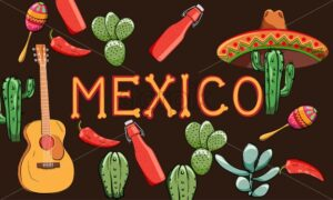 Mexico banner with region oriented decorations. Guitar, cactus, hot sauce bottle, pepper. Colorful maracas and sombrero hat - Starpik Stock