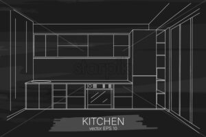 Modern minimalist kitchen sketch. Sink, oven and fridge. Black color background. Vector - Starpik Stock