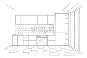 Modern minimalist kitchen sketch. Sink, oven and fridge. Vector - Starpik Stock