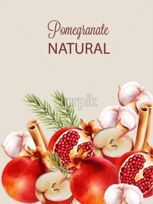 Natural red half sliced pomegranate with christmas ornaments. Cinnamon sticks, cotton, fir tree leaves, flowers, apple. Vector - Starpik Stock