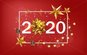 New Year 2020 banner with golden stars and ribbon. Warm light fairy lights and red background. Vector - Starpik Stock