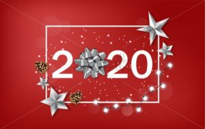 New Year 2020 banner with shining silver stars and ribbon. White fairy light and red background. Vector - Starpik Stock