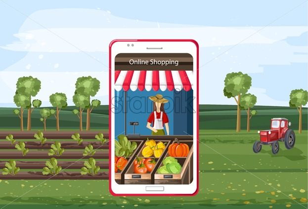 Online shopping of organic vegetables on smart phone app. Red tractor in field with plants. Blue sky. Future of agriculture idea - Starpik Stock