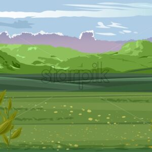 Pastoral scenery of green field with tea leaves on foreground. Mountains and cloudy sky. Vector - Starpik Stock