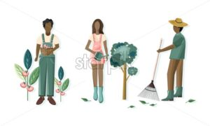 People doing gardening activities. Raking, harvesting tomatoes and watering trees. Organic agriculture vector - Starpik Stock