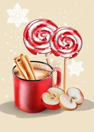 Red cup with hot chocolate and christmas ornaments. Cinnamon sticks, gingerbread cookie, half apple. Snow falling. Holiday vector - Starpik Stock