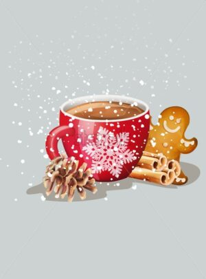 Red cup with hot chocolate and christmas ornaments. Cinnamon sticks, gingerbread cookies, conifer cone. Snow falling. Holiday vector - Starpik Stock