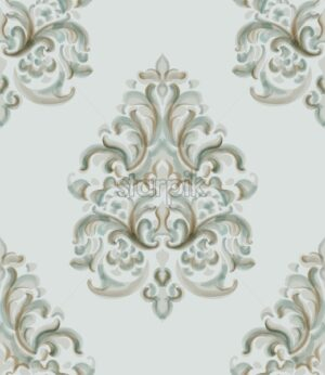 Rococo texture pattern Vector. Floral ornament decoration. Victorian engraved retro design. Vintage grunge fabric decors. Luxury fabrics - Starpik Stock