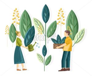 Rural people planting gigantic flower leaves. Woman watering the plants. Man carrying wooden box. Ecology idea - Starpik Stock