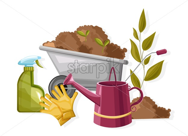 Set of autumn gardening tools. Spray bottle, flower watering can, wheelbarrow with soil and seeds. Agricultural vector - Starpik Stock