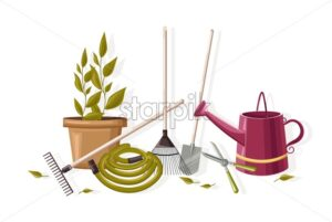 Set of autumn gardening tools. Watering can, pot with flower, hose, rake, shovel and scissors. Vector - Starpik Stock