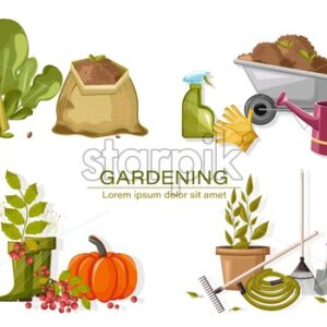 Set of autumn gardening tools. Watering can, pot with flower, hose, rake, shovel and scissors. Vegetable seeds, lettuce, spray and other. Vector - Starpik Stock