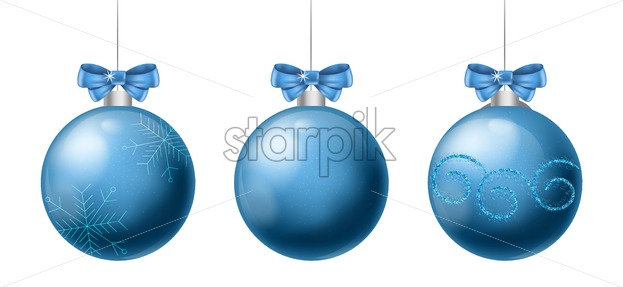 Set of blue christmas baubles with ribbon and holiday ornament drawings. Vector