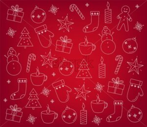 Set of christmas decorations outlines. Gift boxes, baubles, snowflakes, candles, hot tea, lollipop and gingerbread man cookies. Red background vector - Starpik Stock