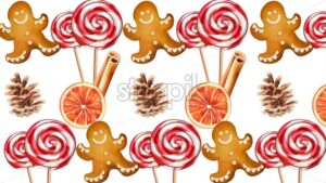 Set of christmas snacks with gingerbread cookie, lollipops, cinnamon sticks, orange slices and conifer cone. Holiday vector - Starpik Stock