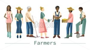 Set of farmer people with different occupations and outfit. Shovel, rake, carrying peppers. Isolated background. Agriculture idea vector - Starpik Stock