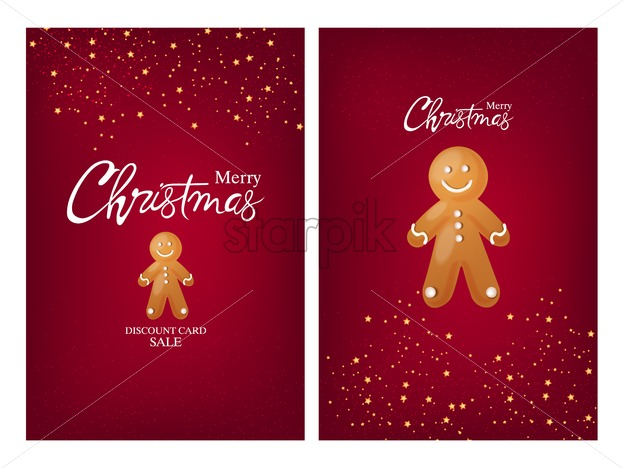 Set of merry christmas cards with gingerbread men cookie and stars, sparkles decorations. Red background vector - Starpik Stock