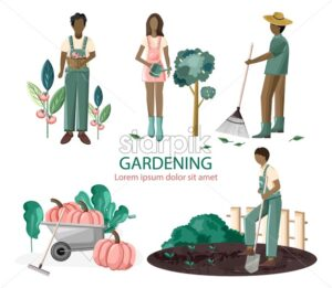 Set of people gardening. Harvesting tomatoes, watering trees, raking, seeding plants. Wheelbarrow full of pumpkins. Agricultural vector - Starpik Stock