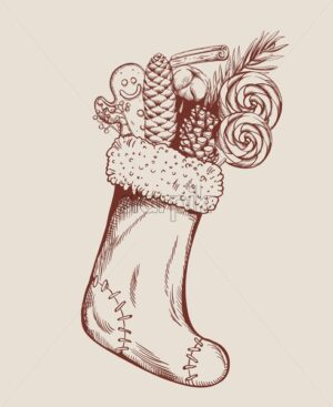 Sketch style christmas stocking filled with gingerbread cookie, conifer cone, cinnamon sticks, lollipops and cotton. Holiday vector - Starpik Stock
