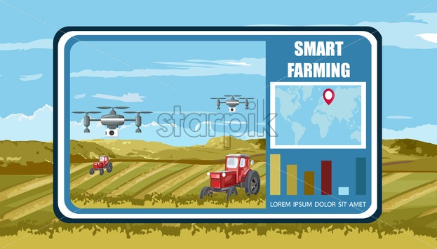 Smart farming banner with wireless unmanned drones and tractors in the field. Green mountains on background. Graph showing world spread of technology. Agriculture future farm vector - Starpik Stock