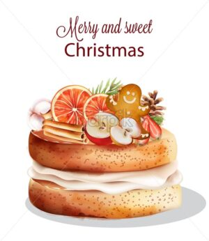 Sweet christmas cake with holiday ornaments. Cinnamon sticks, orange, gingerbread cookie, half apple, cotton, fir tree leaves, pine cone. Vector - Starpik Stock