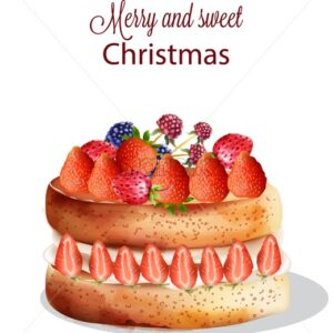 Sweet christmas cake with strawberry and other fruits. Blue, red berries. Holiday Vector - Starpik Stock