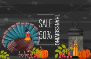 Thanksgiving day sale banner. Light up lantern, turkey with hat, pumpkins, red berries. Gray background. Holiday Vector - Starpik Stock