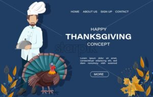 Thanksgiving day site template. Chef cook with turkey and autumn decorations on background. Holiday concept vector - Starpik Stock