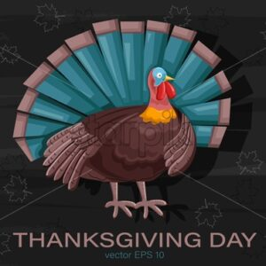 Thanksgiving day turkey with turquoise feathers. Outline of autumn leaves on background. Holiday vector - Starpik Stock