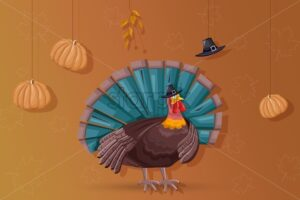 Thanksgiving day turkey with turquoise feathers. Pumpkins, hat and autumn leaves hanging from ceiling. Warm yellow background. Holiday vector - Starpik Stock