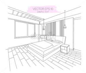 Three dimensional modern apartment bedroom sketch. Sofa, big window and lights. Vector - Starpik Stock
