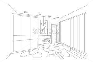 Three dimensional sketch of a modern bedroom with closet, makeup place and entrance. Lamps hanging. Architectural vector - Starpik Stock