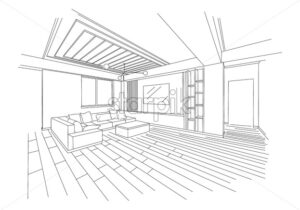 Three dimensional sketch of a modern living room. Sofa, television and wide space. Vector - Starpik Stock