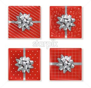 Top view of christmas red gift boxes with decorations and silver ribbon. Drawings and decorations on the box. Vector - Starpik Stock
