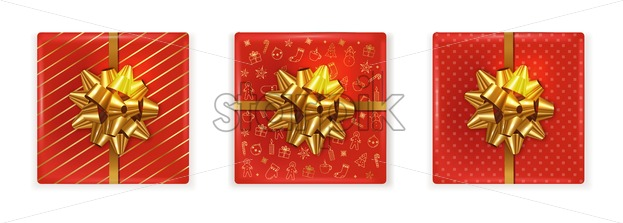 Top view of christmas red gift boxes with golden ribbon. Decorations on the box. Vector - Starpik Stock